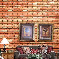 1SB-15 & 16 - random color sandblast facing brick interior wall - web