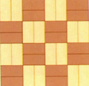 Basketweave bond accentuates straight lines and therefore great care must be exercised in the laying to prevent misalignment. It requires greater dimensional consistency of pavers. This bonding pattern gives static effect and reduces the perceived size of an area.