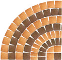 Although special shaped pavers could be used, it is a common practice to form circular patterns from pavers